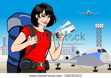 vector young girl traveler with tickets and backpack at airport - stock vector