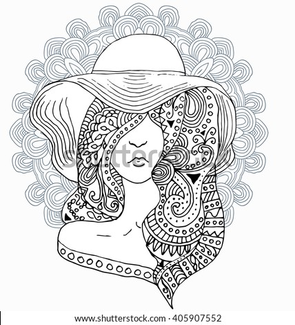 Vector young pretty girl with doodle hairs wearing hat. Fashion illustration. Uncolored image can be used as adult coloring book, coloring page, invitation, greeting card. - stock vector