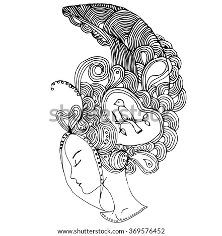Vector young pretty girl with doodle hairs. Woman's face in profile. Can be used as adult coloring book, coloring pages, card, invitation.  - stock vector