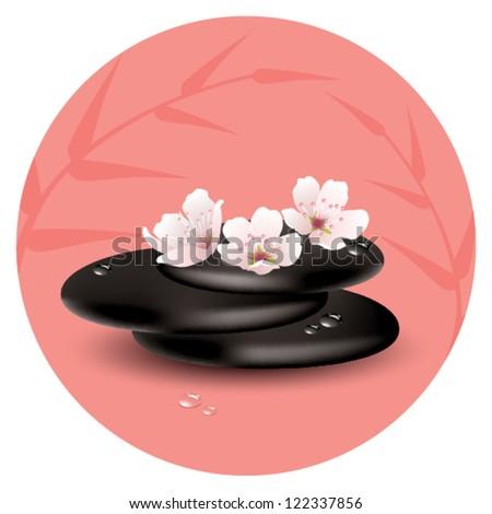 vector zen stones and cherry flowers - stock vector