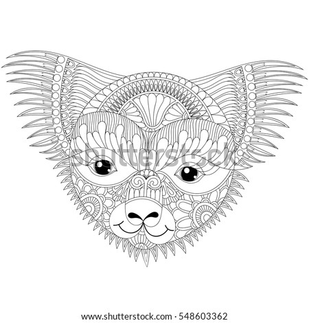 vector zentangle happy friendly koala face for adult anti stress coloring pages book australian