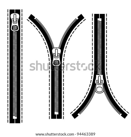 vector zipper black symbols - stock vector