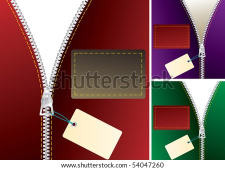 vector zipper with tag in three color variations - stock vector