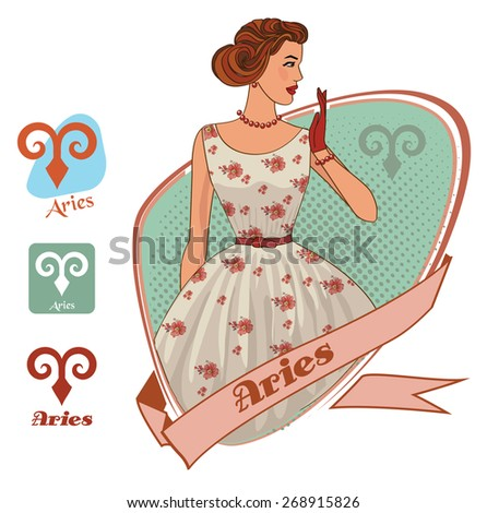 Vector zodiac signs set for horoscope with retro girls and flat icons collection. Aries - stock vector