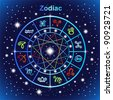 Vector zodiacal circle with zodiac sign - stock