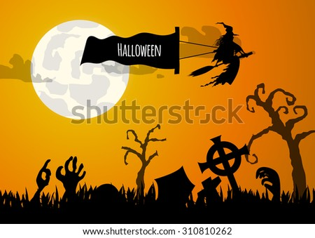 Vector : Zombie hand and graveyard halloween background