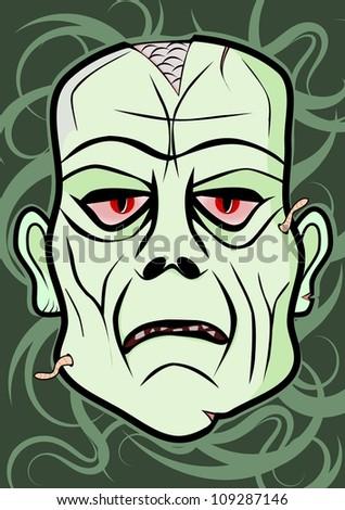 Vector zombie head - stock vector