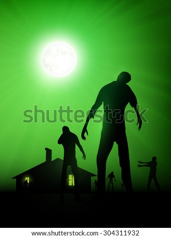 vector zombie illustration  - stock vector