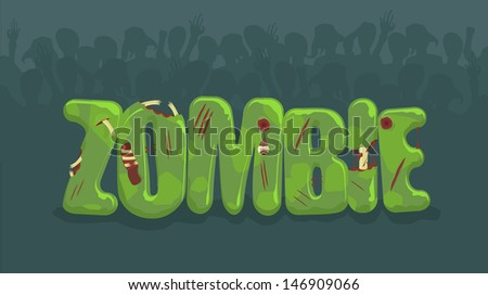 Vector zombie sign with spooky silhouettes on background  - stock vector