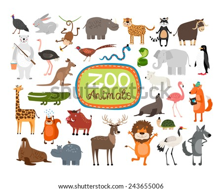 Vector Zoo Animals. Many different animals, giraffe, elephant, rhino and monkey - stock vector