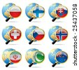 Vector zoom world flag icons with a globe - stock photo