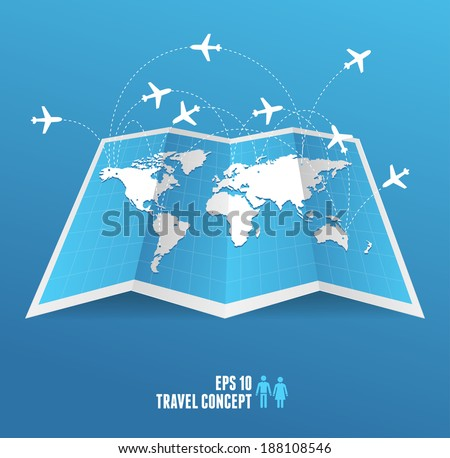 Vectorblue map icon and airplane. Travel concept. - stock vector