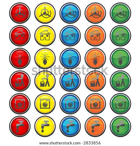 Vectorial glass buttons with different kind of energy and ecological symbols
