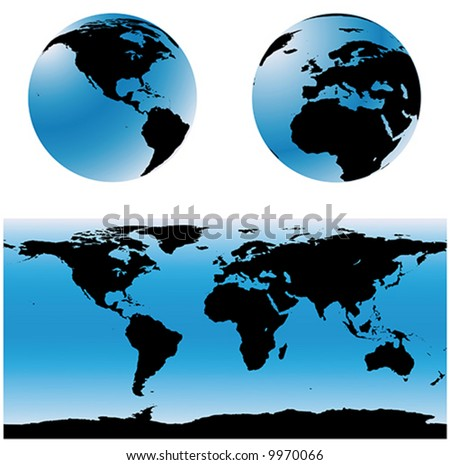 Vectorial world map set. Two spheres with USA and Europe zones, and a total world map.