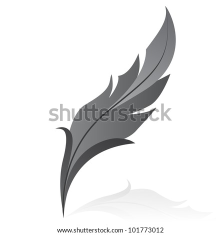 Vectorillustration of grey feather - stock vector