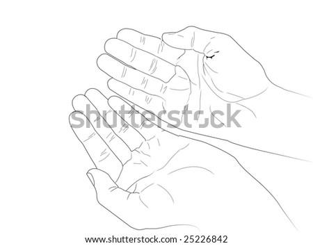 Vectorized Human Hands - stock vector
