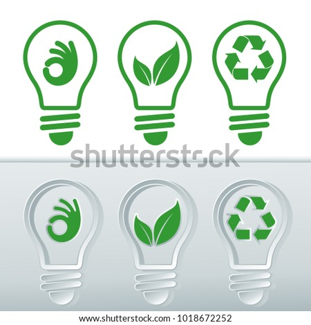 Vectorized icon sets for renewable energies. Light bulbs with icons of clean energies, bulb with leaf, bulb with recycling symbol and bulb with hand symbol O.K.
