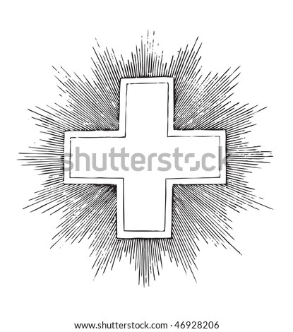 vectorized old cross engraving, grunge style - stock vector