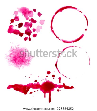 vectorized wine splashes and blots set. elements are grouped separately