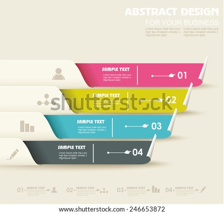 Vectoroptions / progress banners with colorful tags. - stock vector
