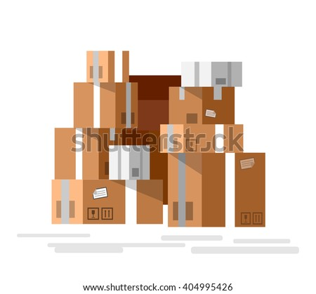 VectorPile of stacked sealed goods cardboard boxes. Detailed mail box.  Detailed mail box.  Detailed mail box.  Detailed mail box - stock vector