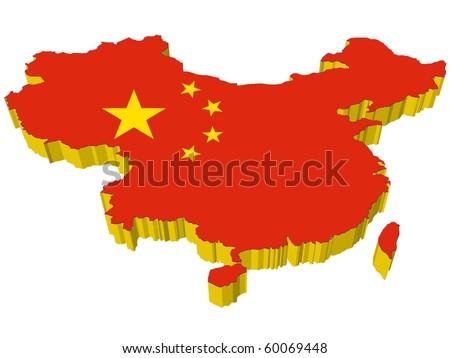 vectors 3D map of China - stock vector