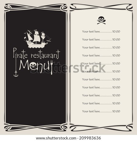 vectors menu with pirate sailing ship and the Jolly Roger - stock vector