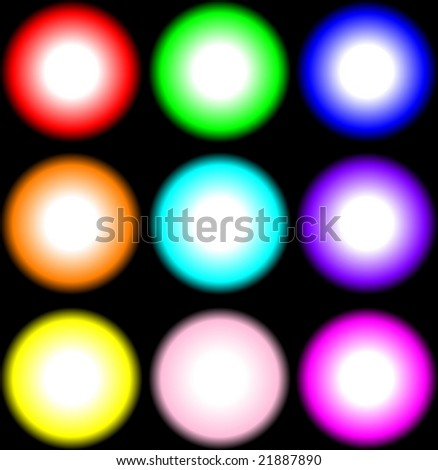 VECTORS: nine beautiful bright colored lights isolated on black - stock vector