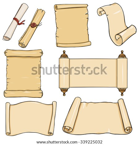 Vectror Set of Scrolls - stock vector