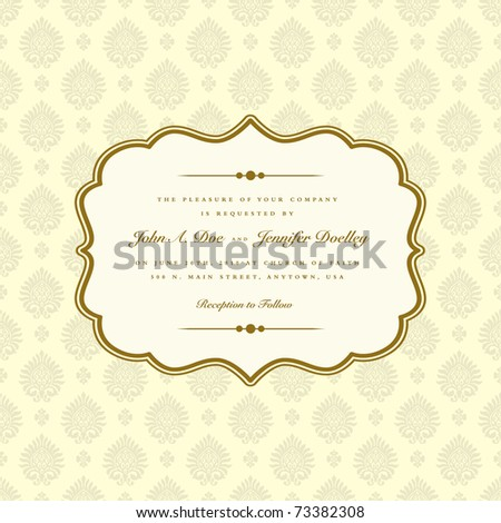 VectVector ornate frame and seamless pattern. Easy to edit. Perfect for invitations or announcements. or Ornaments and Ornate Frame - stock vector