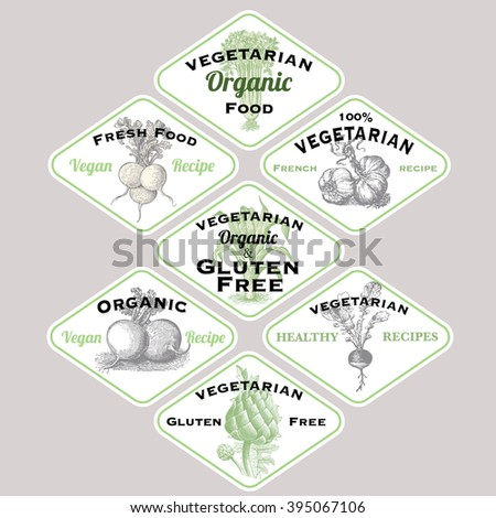 Vegan and vegetarian food labels collection - stock vector