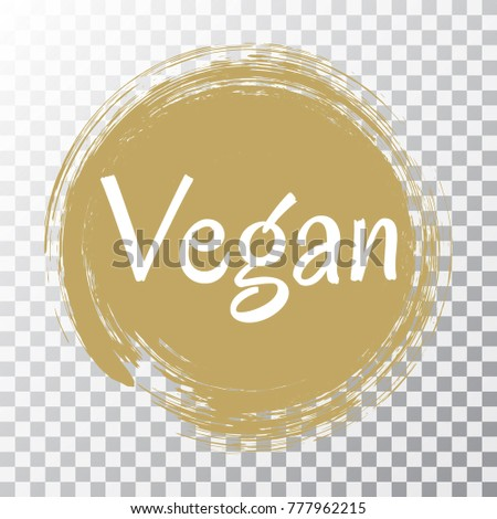 Vegan diet label brown painted logo emblem for food packaging circle stamp vector illustration