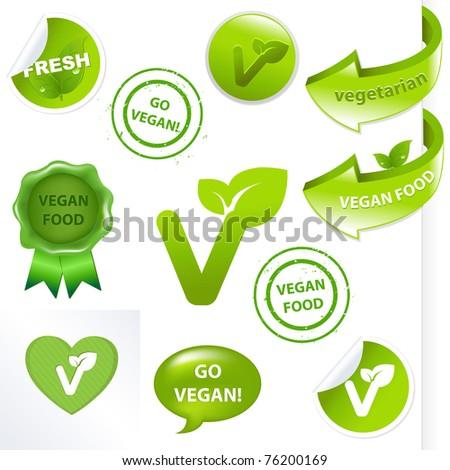 Vegan Elements Set, Isolated On White Background, Vector Illustration - stock vector