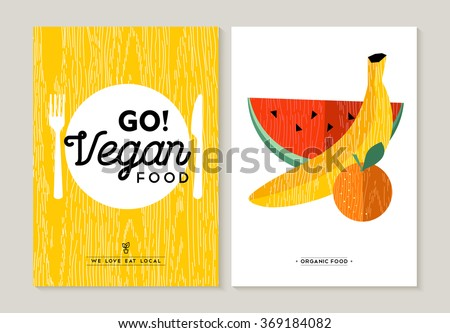 Vegan food concept flat designs for healthy eating. Colorful fruits illustration and kitchen utensil elements. EPS10 vector. - stock vector