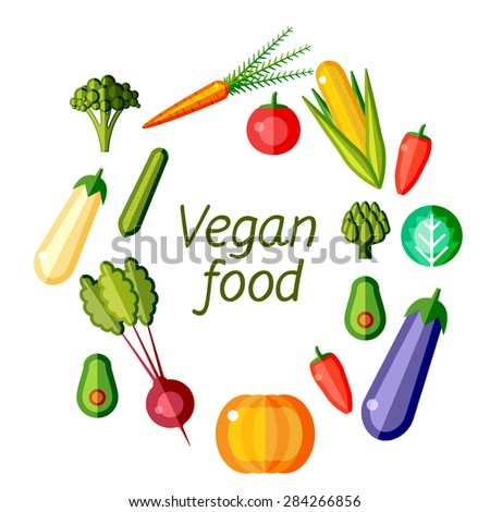 Vegan food graphic design. Flat vector illustration.