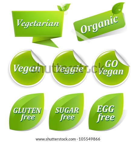 Vegan Food Symbols, Isolated On White Background, Vector Illustration - stock vector