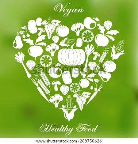 Vegan healthy organic food, vegetarian menu flat design, fruits, vegetables, mushrooms icon set - vector - stock vector