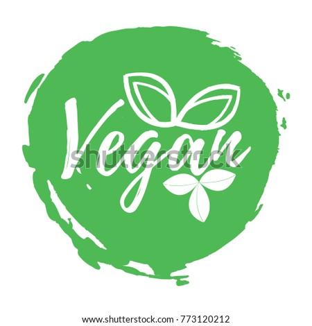 Vegan Label Healthy Organic Food Font Stock Vector ...