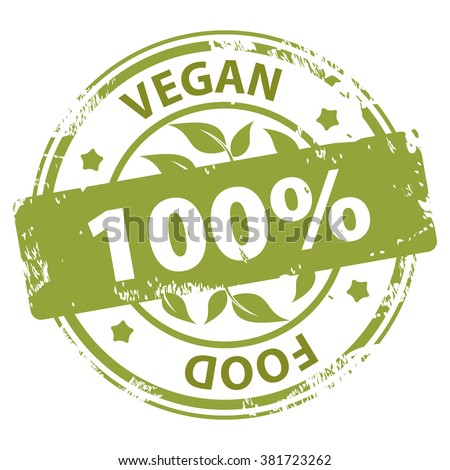 Vegan or Vegetarian healthy Food 100 percent green rubber stamp rubber stamp icon isolated on white background. Vector illustration - stock vector
