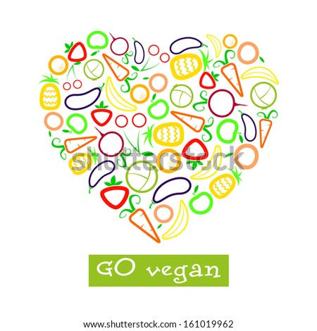 vegan poster with vegetables and fruits - stock vector