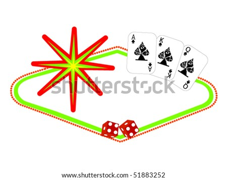 vegas sign with decorative cards and dice - stock vector