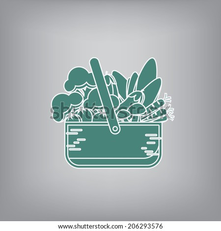Vegetable basket simple flat design icon with assortment of vegetable. Eps10 vector illustration.