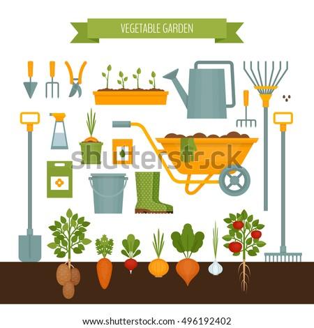 Vegetable Garden Banner Organic Healthy Food Stock Vector