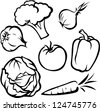 vegetable illustration - black outline - stock vector