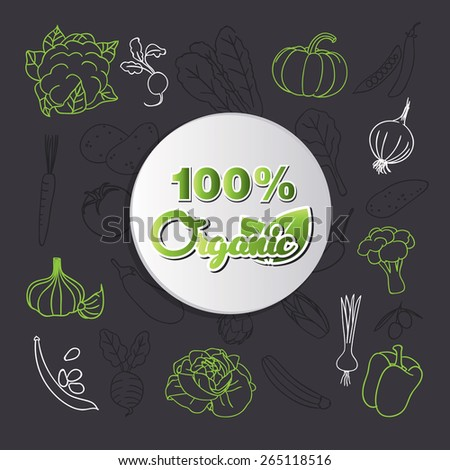 vegetable 100% organic food - stock vector