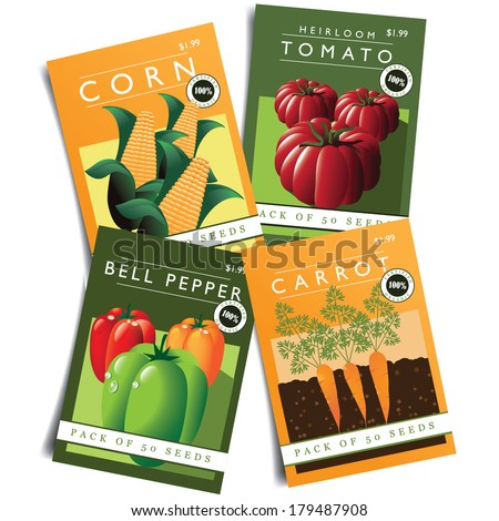 Vegetable Seed Packets EPS 10 Vector, Grouped For Easy Editing. No Open  Shapes Or