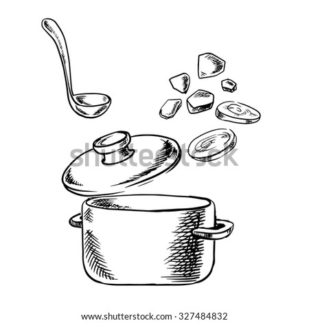 Vegetable soup cooking process sketch with cooking pot, ladle and slices of fresh carrot and potato vegetables, for healthy vegetarian food theme - stock vector