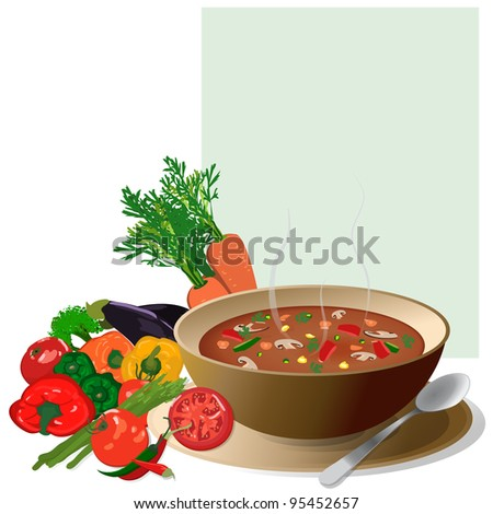 Vegetable soup, with fresh colorful vegetables around and a note for ingredients.Isolated on white - stock vector