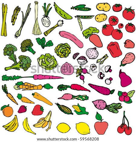 Vegetables and fruit vector illustration - stock vector