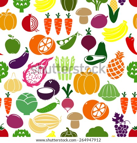 Vegetables and fruits background. Patison and radish, eggplant and pomegranate, peas and cabbage. Vector illustration - stock vector